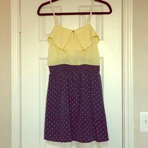 Yellow and Navy Polka Dot Dress